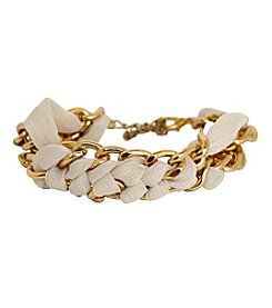 Gold Double Curb Link Chain with Woven Fabric Bracelet