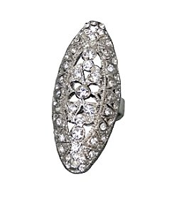 Silvertone Marquise Clear Gem Ring