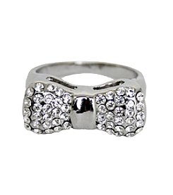 Silvertone Gem Encrusted Bow Ring
