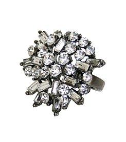 Gun Metal Clear Gem Ring