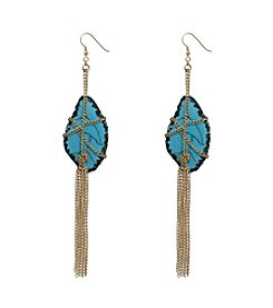 Goldtone Wrapped Turquoise Earrings