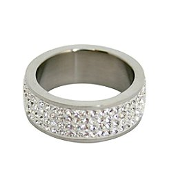 Pave Clear Gems Stainless Steel Ring