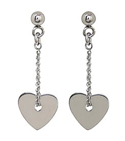 Stainless Steel Small Heart Dangle Earrings