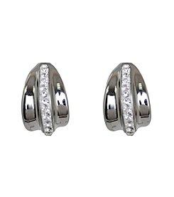 Clear Gems Half Hoop Stainless Steel Earrings