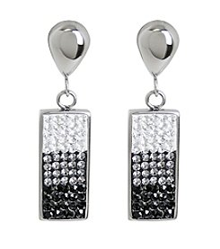 Rectangle Pave Gems Stainless Steel Earrings
