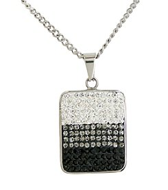 Rectangle Pave Gems Stainless Steel Pendant