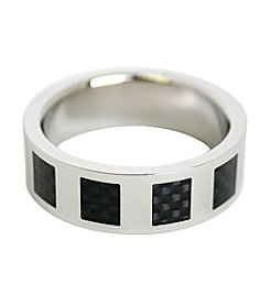 Men's Square Black Carbon Fiber Inlay Stainless Steel Ring