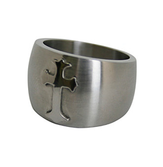 Men's Matte Finish Stainless Steel Cross Ring Men's