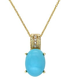 Effy® Turquesa Collection .06 ct. t.w. Diamond and Turquoise Pendant n 14K Yellow Gold