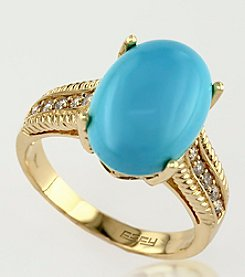 Effy® .15 ct. t.w. Diamond and Turquoise Ring in 14K Yellow Gold
