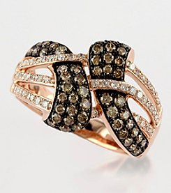 Effy® Espresso and White .85 Ct. T.W. Diamond Ring in 14K Rose Gold