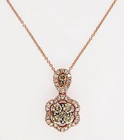 Effy® Espresso and White .71 ct. t.w. Diamond Pendant in 14K Rose Gold