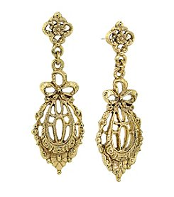 Downton Abbey® Goldtone Belle Epoch Bow Drop Filigree Earrings