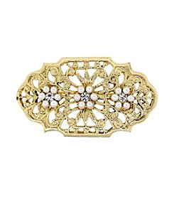 Downton Abbey® Goldtone Edwardian Filigree Oval Bar Pin