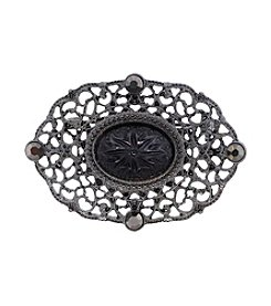 Downton Abbey® Jet Belle Epoch Oval Filigree Bar Pin