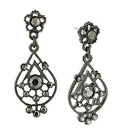 Downton Abbey® Jet Petite Edwardian Radial Filigree Drop Earrings