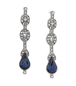 Downton Abbey® Silvertone Crystal Blue Pear Drop Earrings