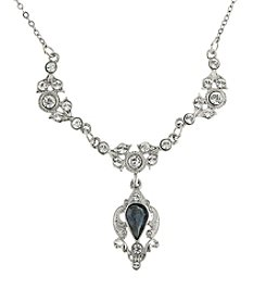 Downton Abbey® Silvertone Montana Blue Sapphire Belle Epoch Drop Necklace 16