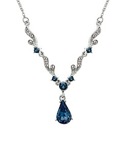 Downton Abbey® Silvertone Crystal Montana Blue Sapphire Necklace 16