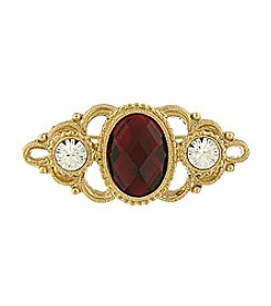 Downton Abbey® Goldtone Crystal Large Ruby Oval Pin