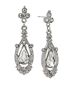 Downton Abbey® Silvertone Edwardian Pave Crystal Drop Earrings