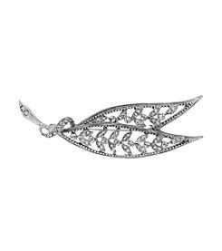 Downton Abbey® Silvertone Large Edwardian Filigree Leaf Bar Pin