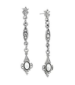Downton Abbey® Silvertone Belle Epoch Pearl & Crystal Linear Filigree Earrings