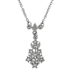 Downton Abbey® Silvertone Petite Belle Epoch Starburst Drop Pendant 16