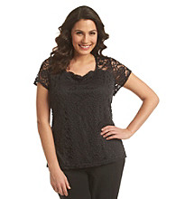 Notations® Plus Size Flutter Sleeve Lace Tee