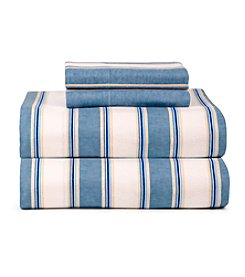 Celeste Home Ultra Soft Flannel Blue Stripe Sheet Set