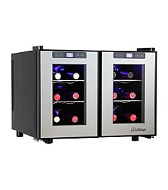 Vinotemp® 12-Bottle Dual-Zone Touch Screen Thermoelectric Wine Cooler with 2 Temperature Zones