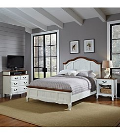 Home Styles® French Countryside Oak and Rubbed White Queen Bedroom Collection with Media Chest