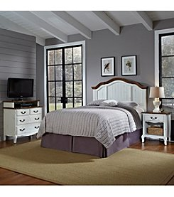 Home Styles® French Countryside Oak and Rubbed White Full/Queen Headboard Bedroom Collection with Media Chest