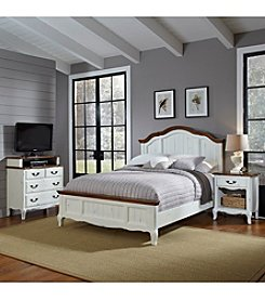 Home Styles® French Countryside Oak and Rubbed White King Bedroom Collection with Media Chest