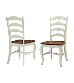 Home Styles® Set of 2 French Countryside Oak and Rubbed White Dining Chairs