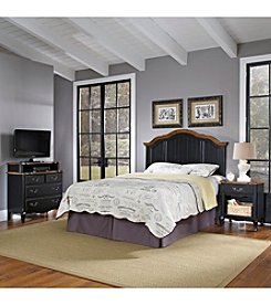 Home Styles® French Countryside Oak and Rubbed Black Full/Queen Headboard Bedroom Collection with Media Chest