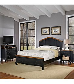 Home Styles® French Countryside Oak and Rubbed Black King Bedroom Collection with Media Chest