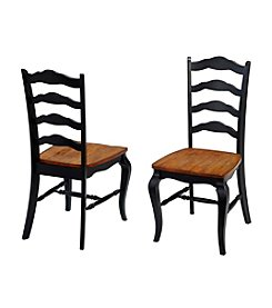 Home Styles® Set of 2 French Countryside Oak and Rubbed Black Dining Chairs