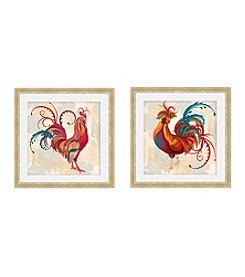 Greenleaf Art Teal Rooster Framed Canvas Art