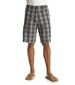 John Bartlett Consensus Men's High Silver Plaid Cargo Shorts