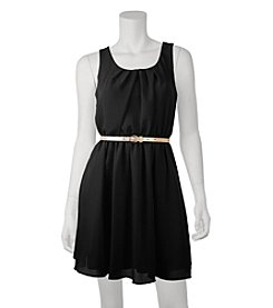 A. Byer Skinny Belt Pleat Dress