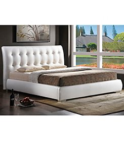 Baxton Studios Jeslyn White Modern Full Size Bed with Tufted Headboard