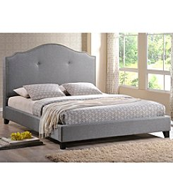 Baxton Studios Marsha Scalloped Gray Linen Modern Full Size Bed with Upholstered Headboard