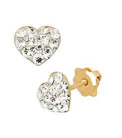 14K Yellow Gold Clear Crystal Heart Baby Stud Earrings