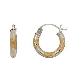14K Yellow and White Gold Satin and Polished Hoop Earrings