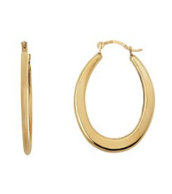 14K Yellow Gold Oval Shaped Polished Hoop Earrings