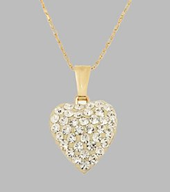 14K Yellow Gold Crystal Heart Pendant