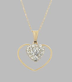 14K Yellow Gold Crystal and Gold Hearts Pendant