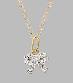 14K Yellow Gold Clear Crystal Bow Baby Pendant