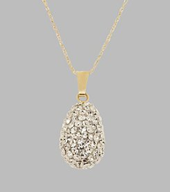 14K Yellow Gold Clear Crystal Teardrop Pendant